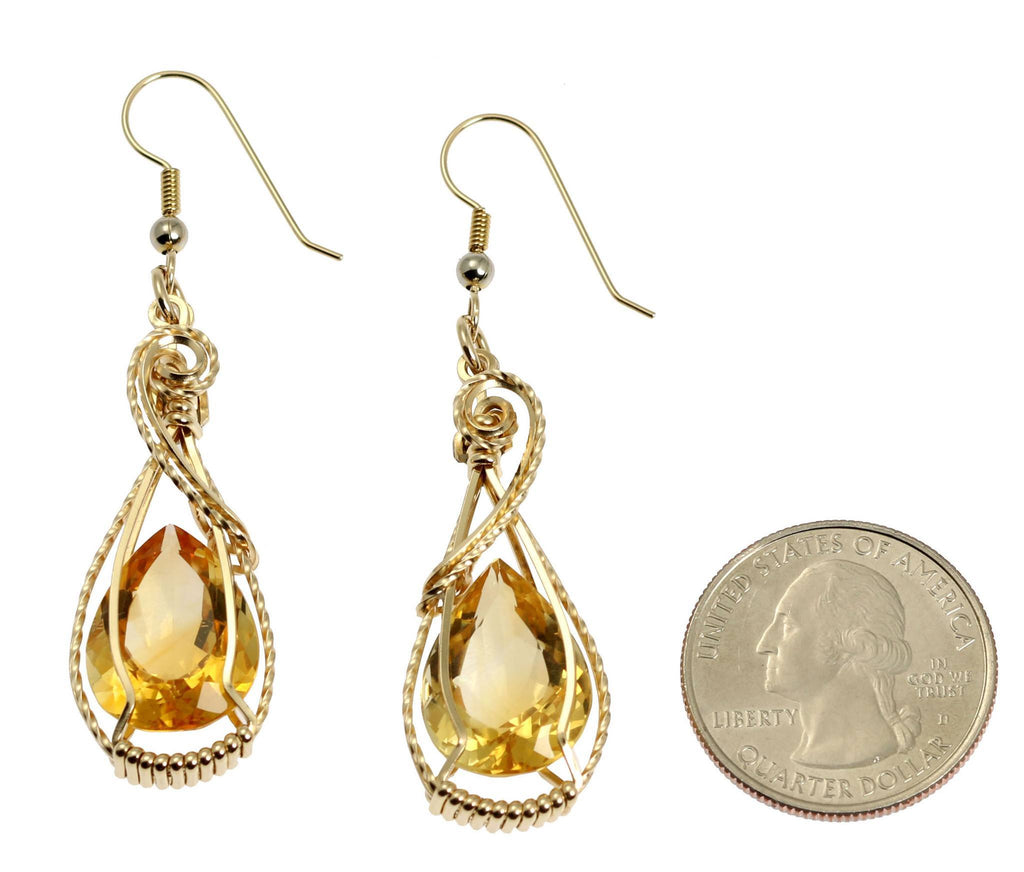 19 CT Cushion Cut Citrine 14K Gold-filled Earrings - johnsbrana - 2