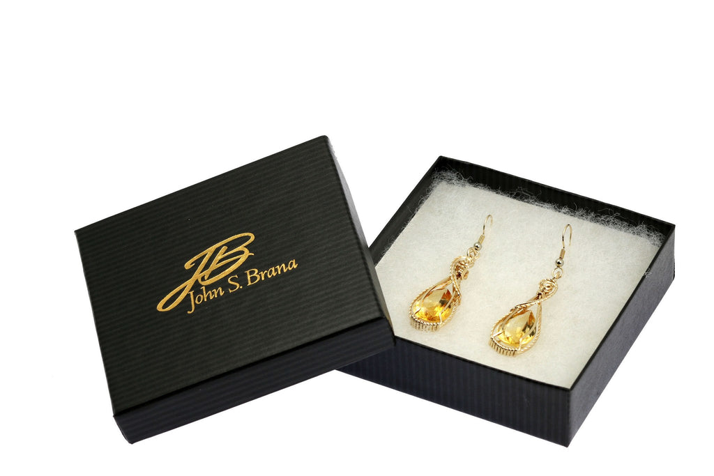 Earrings - 19 CT Cushion Cut Citrine 14K Gold-filled Earrings