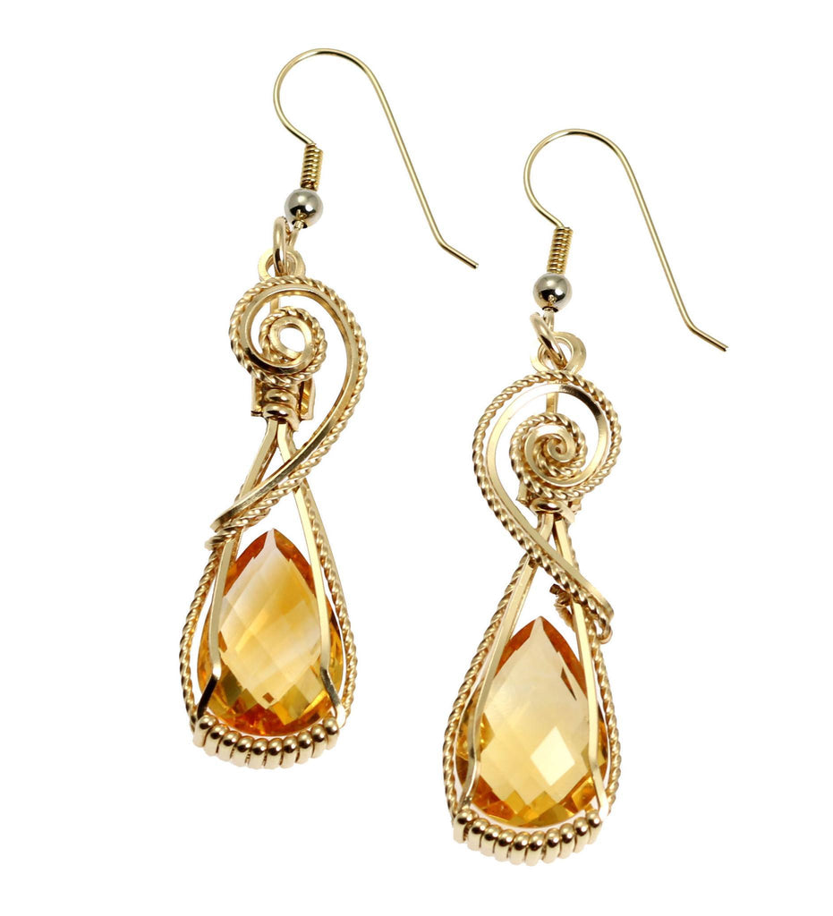 21 CT Checkerboard Cut Citrine 14K Gold-filled Earrings - johnsbrana - 1