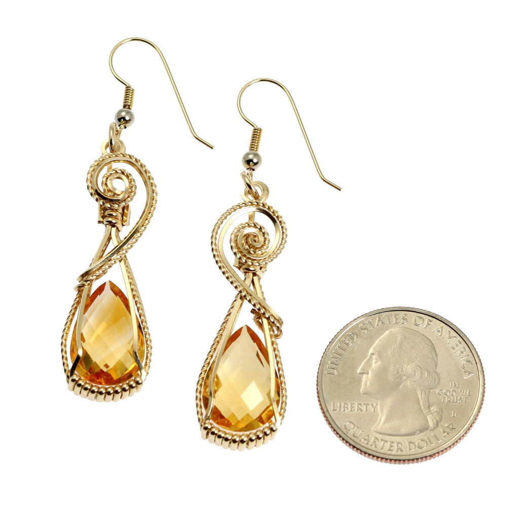 21 CT Checkerboard Cut Citrine 14K Gold-filled Earrings - johnsbrana - 2