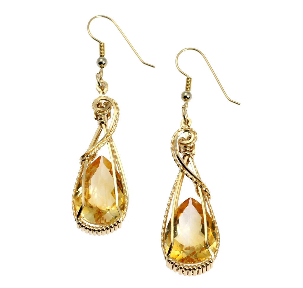 21 CT Citrine 14K Gold-filled Wire Wrapped Earrings - johnsbrana - 1