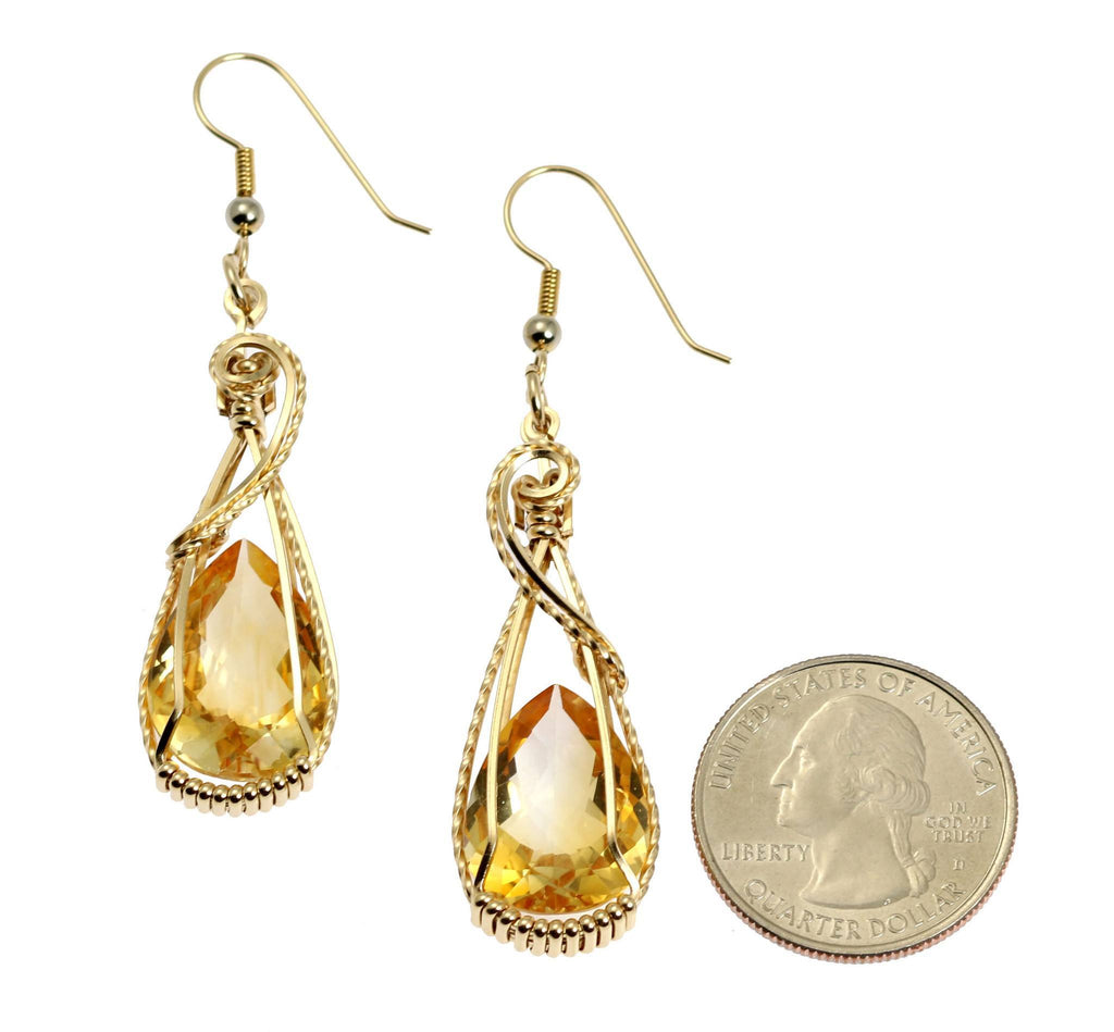 21 CT Citrine 14K Gold-filled Wire Wrapped Earrings - johnsbrana - 2