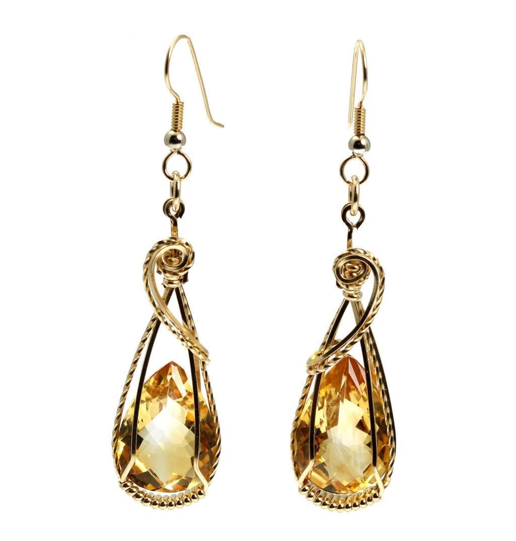 21 CT Citrine 14K Gold-filled Wire Wrapped Earrings - johnsbrana - 4