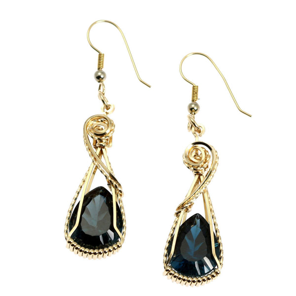21 CT Cushion Cut London Blue Topaz 14K Gold-filled Earrings - johnsbrana - 1