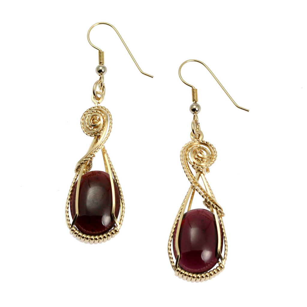 23 CT Cabochon Cut Garnet 14K Gold-filled Earrings - johnsbrana - 1