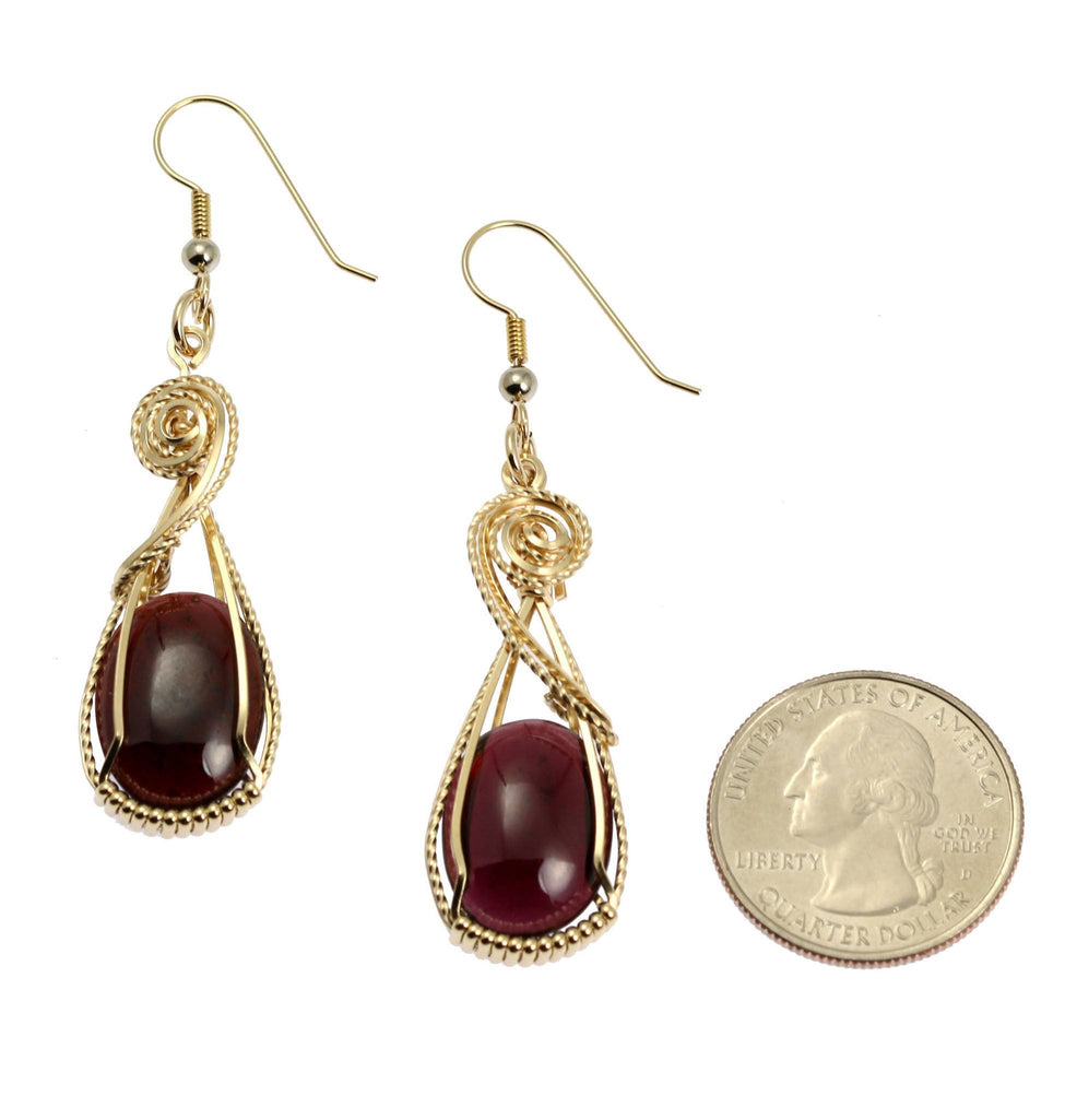23 CT Cabochon Cut Garnet 14K Gold-filled Earrings - johnsbrana - 2