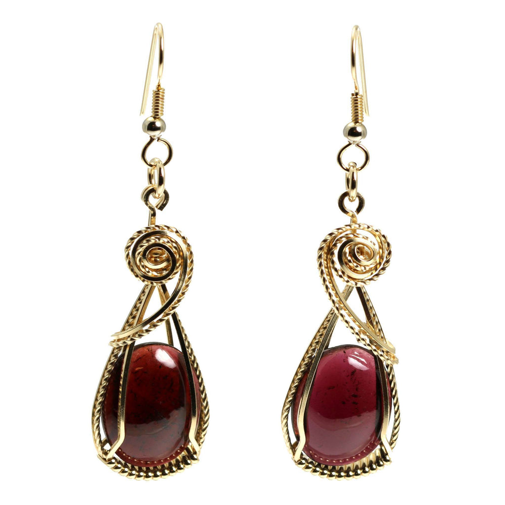 23 CT Cabochon Cut Garnet 14K Gold-filled Earrings - johnsbrana - 3