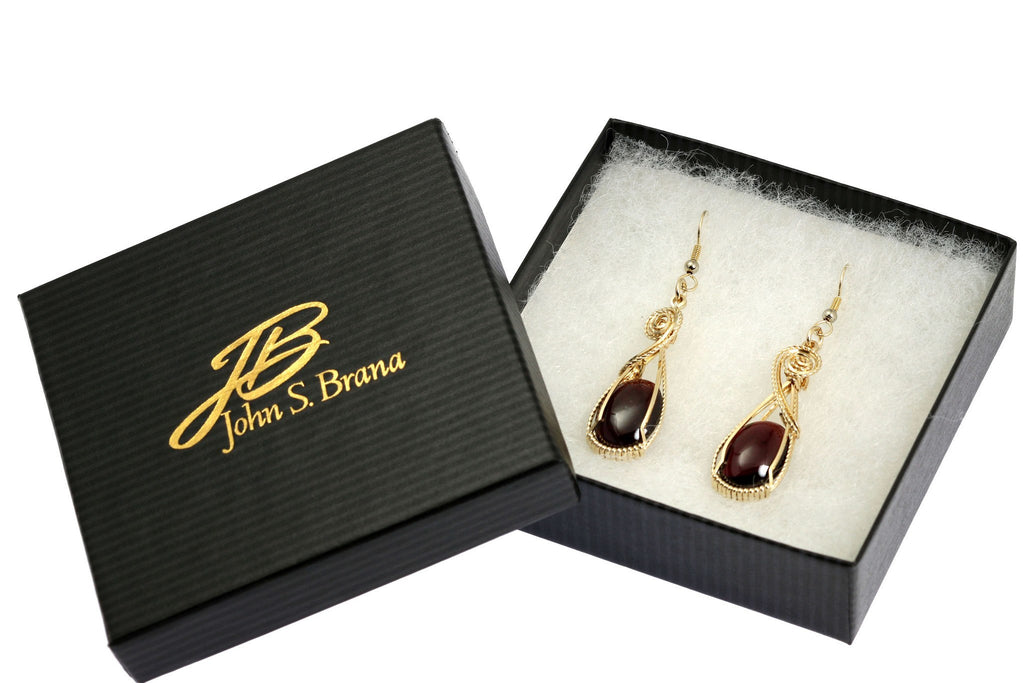 Earrings - 23 CT Cabochon Cut Garnet 14K Gold-filled Earrings