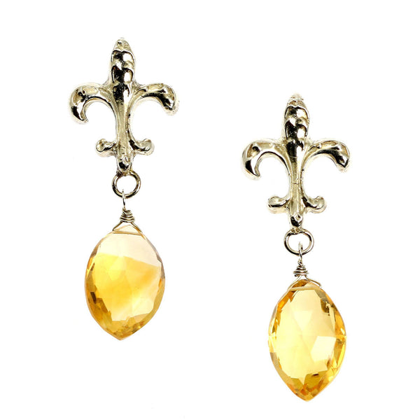 23 CT Citrine Sterling Silver Fleur-de-lis Earrings - johnsbrana - 1