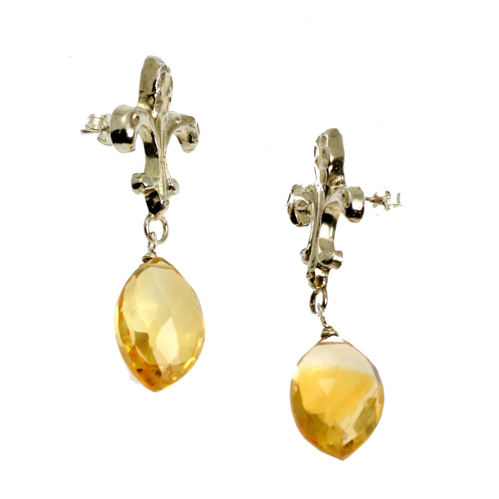 23 CT Citrine Sterling Silver Fleur-de-lis Earrings - johnsbrana - 3