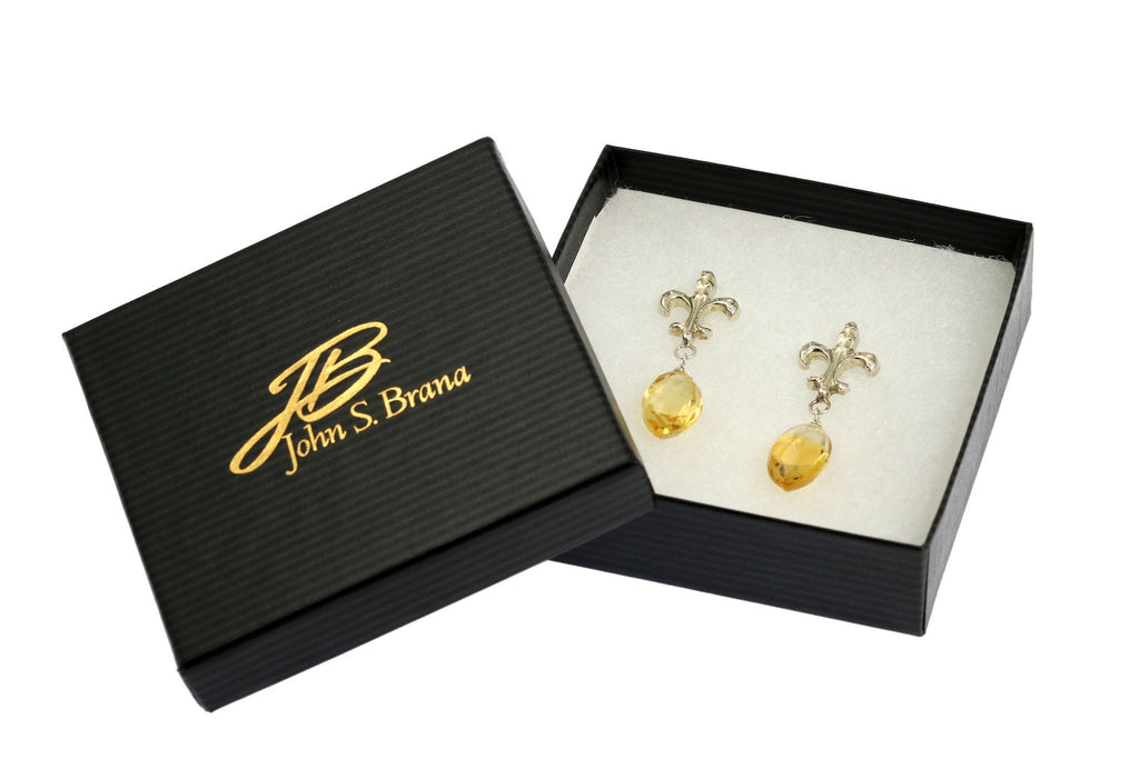23 CT Citrine Sterling Silver Fleur-de-lis Earrings - johnsbrana - 4
