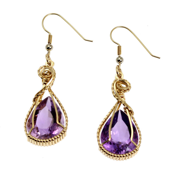 24 CT Amethyst 14K Gold-filled Wire Wrapped Earrings - johnsbrana - 1