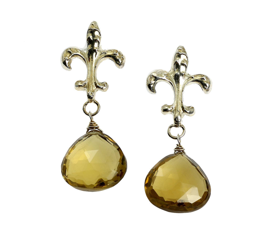 29.5 CT Bear Quartz Sterling Silver Fleur-de-lis Earrings - johnsbrana - 1