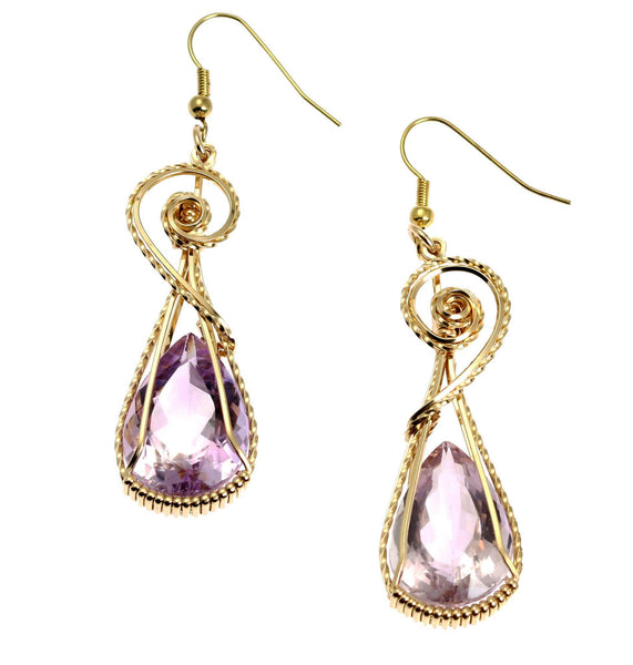 30 CT Amethyst 14K Gold-filled Wire Wrapped Earrings - johnsbrana - 1