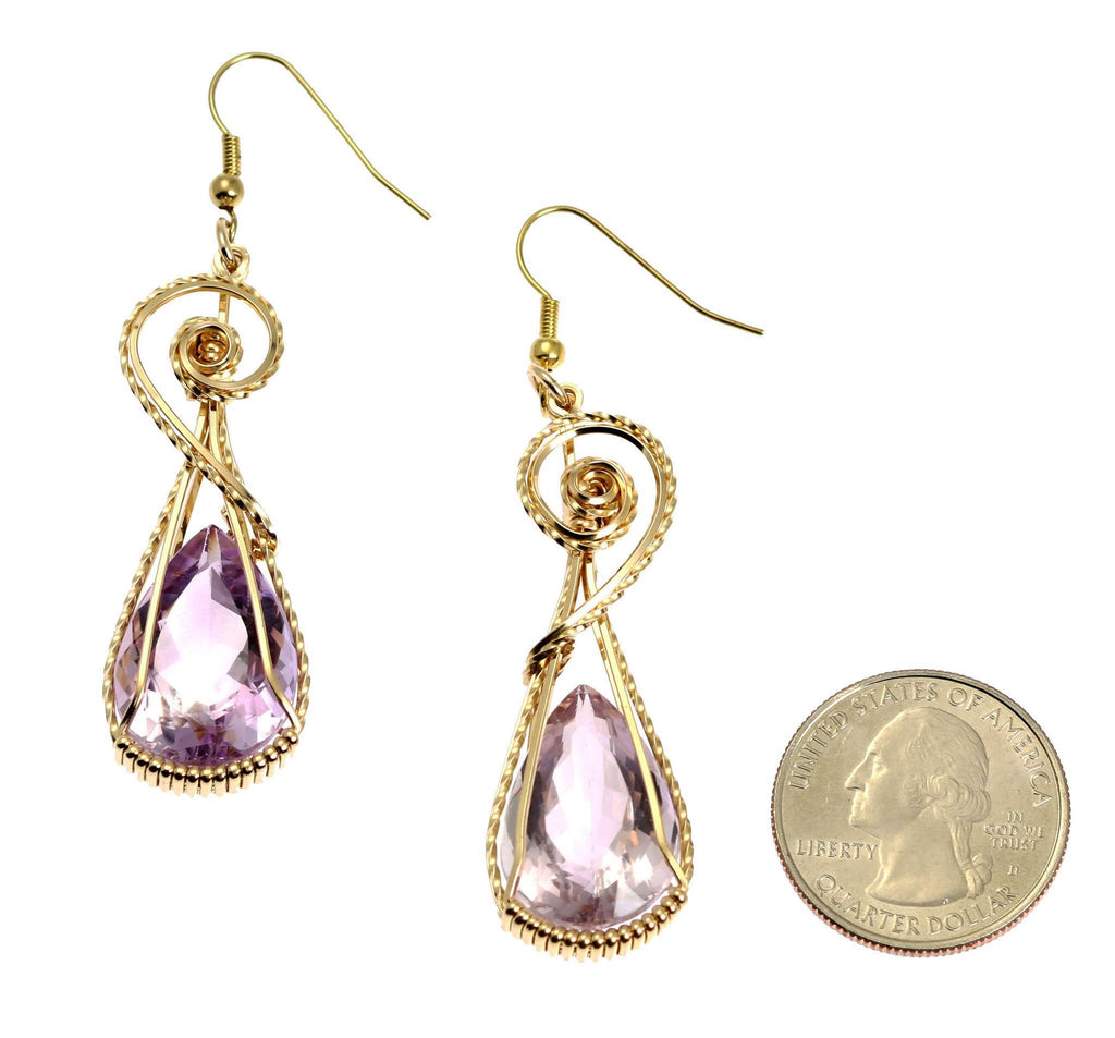 30 CT Amethyst 14K Gold-filled Wire Wrapped Earrings - johnsbrana - 2