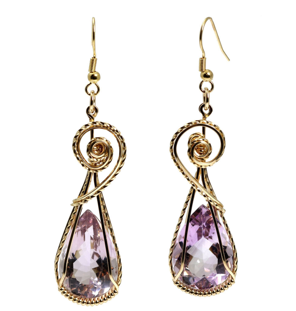 30 CT Amethyst 14K Gold-filled Wire Wrapped Earrings - johnsbrana - 3