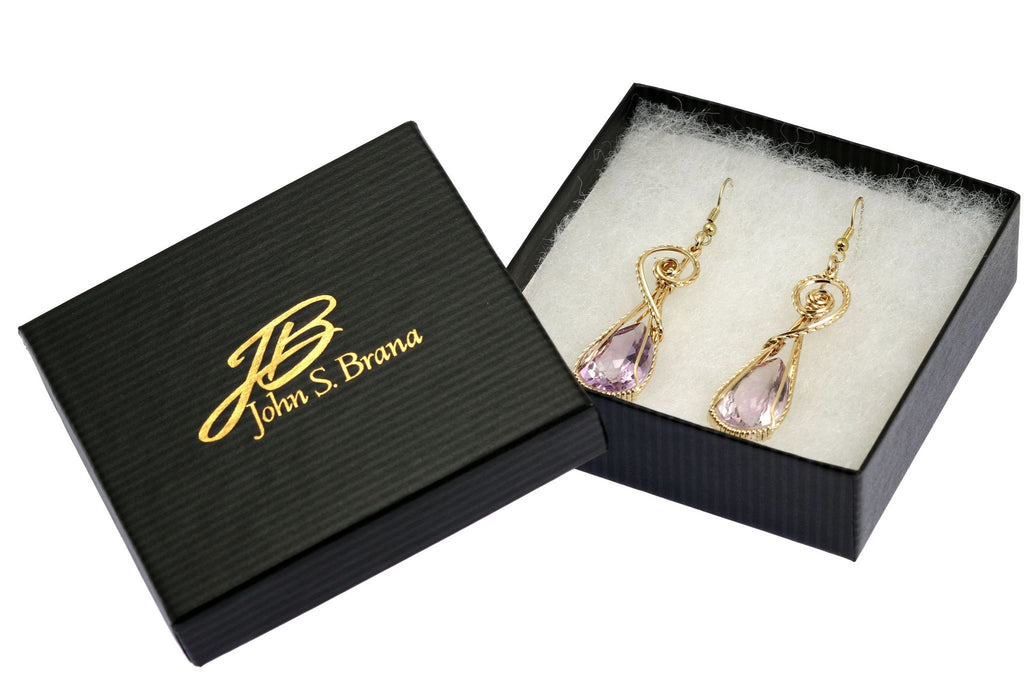 30 CT Amethyst 14K Gold-filled Wire Wrapped Earrings - johnsbrana - 4
