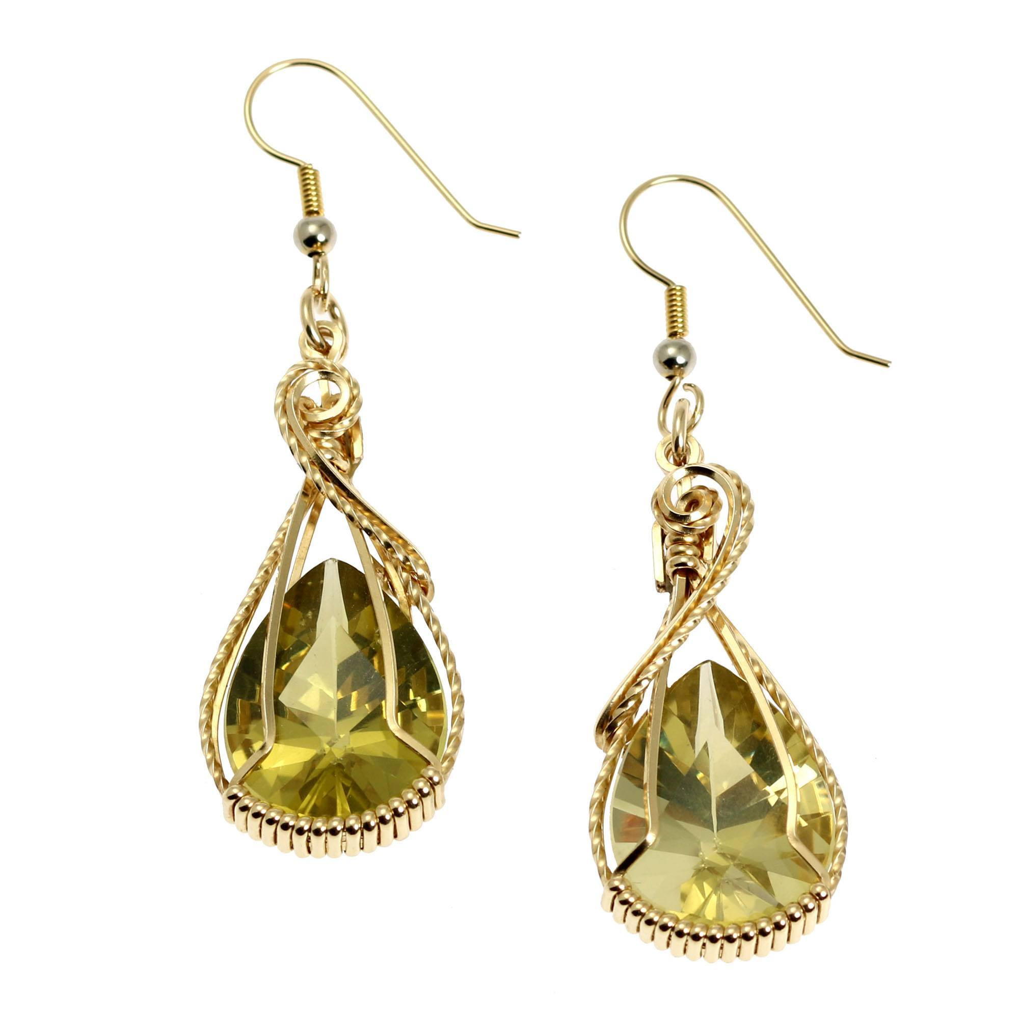 gold green and amethyst topaz blue drop double earrings yellow
