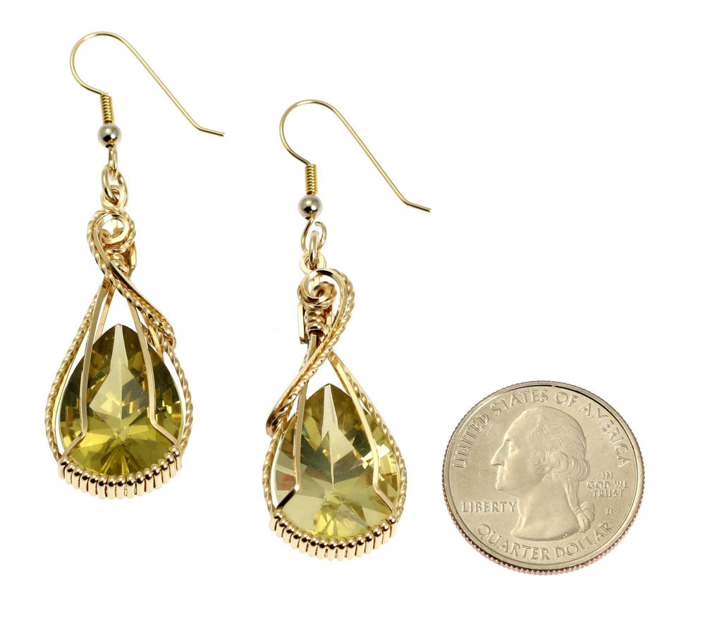 32 CT Green Gold Quartz 14K Gold-Filled Earrings - johnsbrana - 2