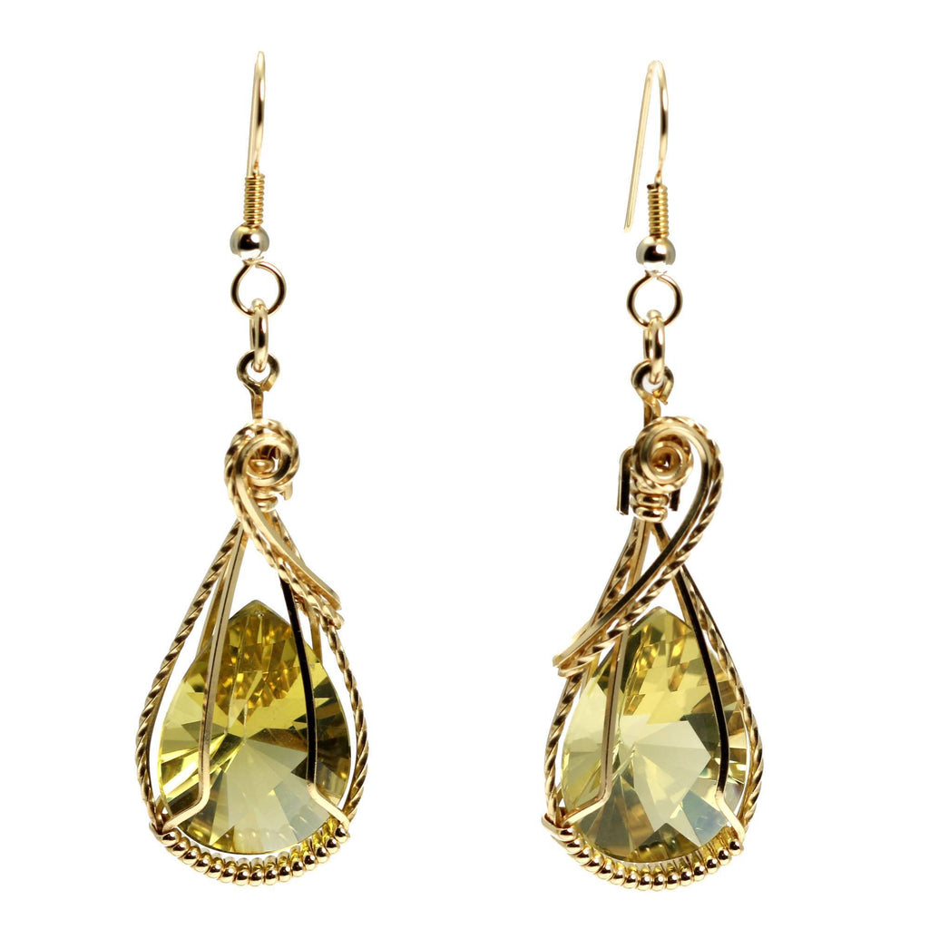 32 CT Green Gold Quartz 14K Gold-Filled Earrings - johnsbrana - 3
