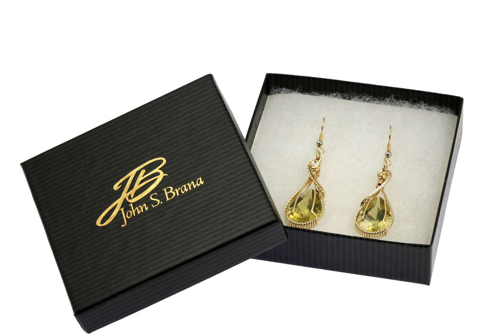 32 CT Green Gold Quartz 14K Gold-Filled Earrings - johnsbrana - 4