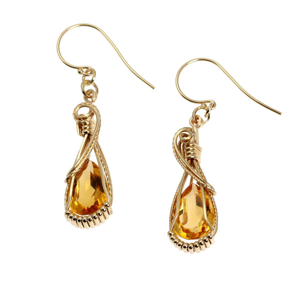 7.5 CT Citrine 14K Gold Gemstone Earrings - johnsbrana - 1