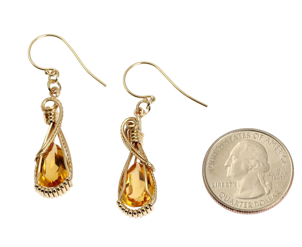 7.5 CT Citrine 14K Gold Gemstone Earrings - johnsbrana - 2