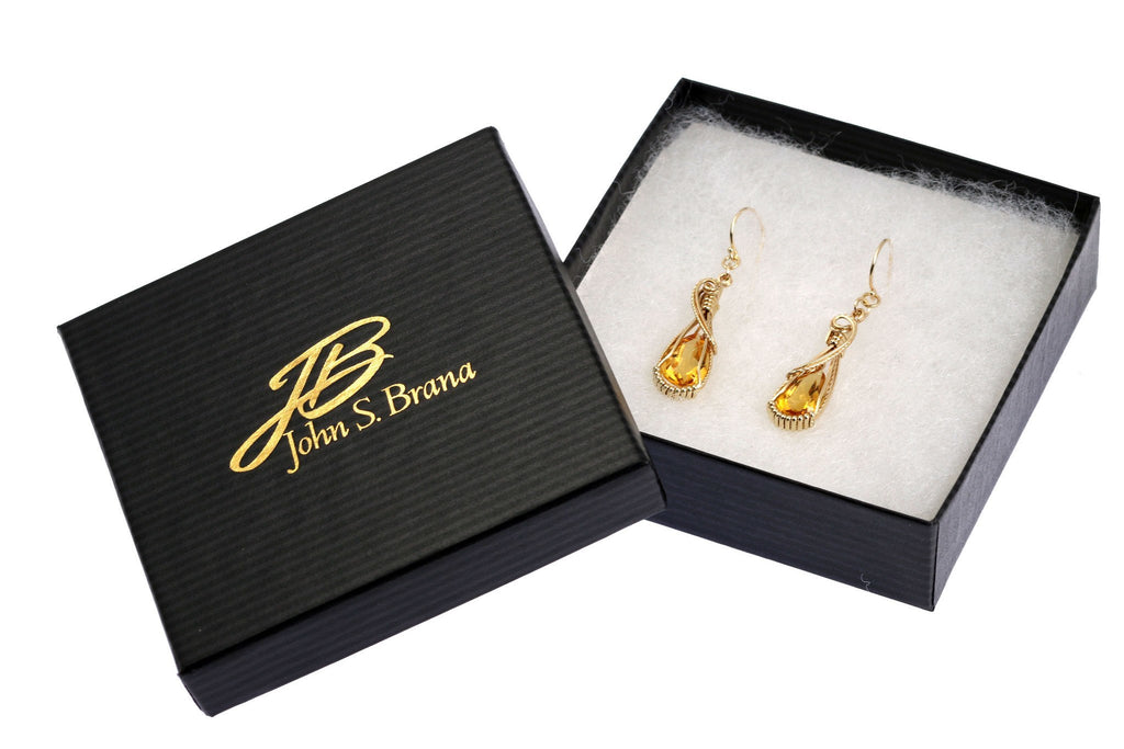Earrings - 7.5 CT Citrine 14K Gold Gemstone Earrings