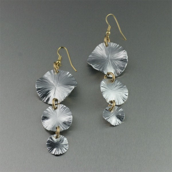 Aluminum Lily Pad Earrings - Three-tiered - johnsbrana