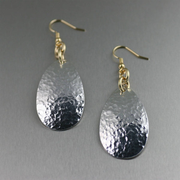 Aluminum Tear Drop Earrings - Hammered - johnsbrana - 1