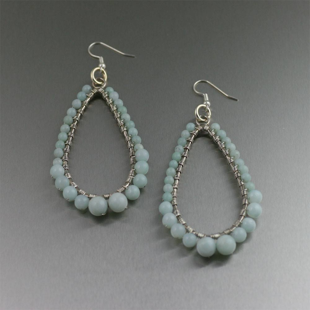 Amazonite Fine Silver Wire Wrapped Tear Drop Earrings - johnsbrana