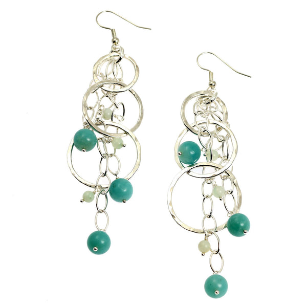 Amazonite Hammered Fine Silver Earrings - johnsbrana - 1