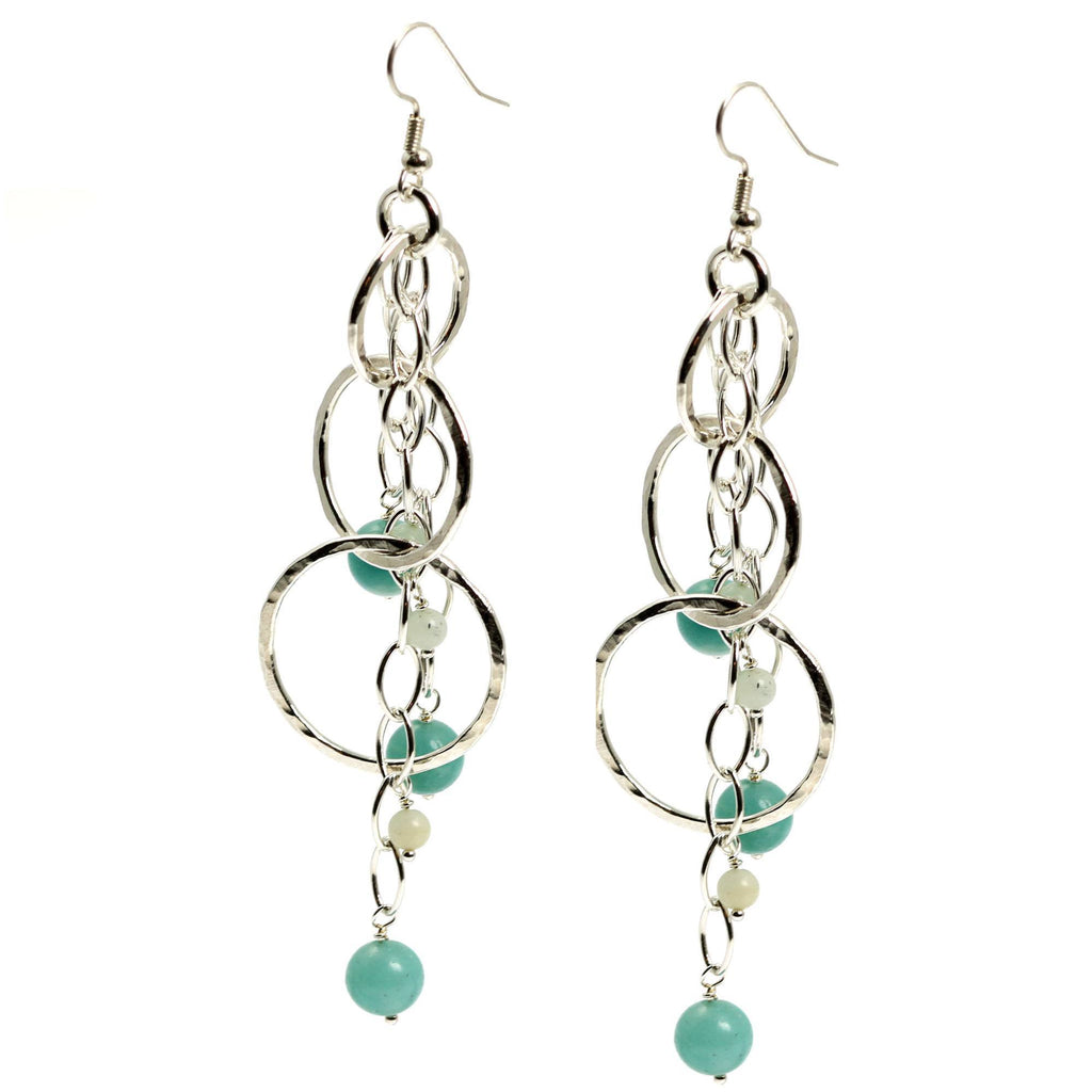 Amazonite Hammered Fine Silver Earrings - johnsbrana - 2