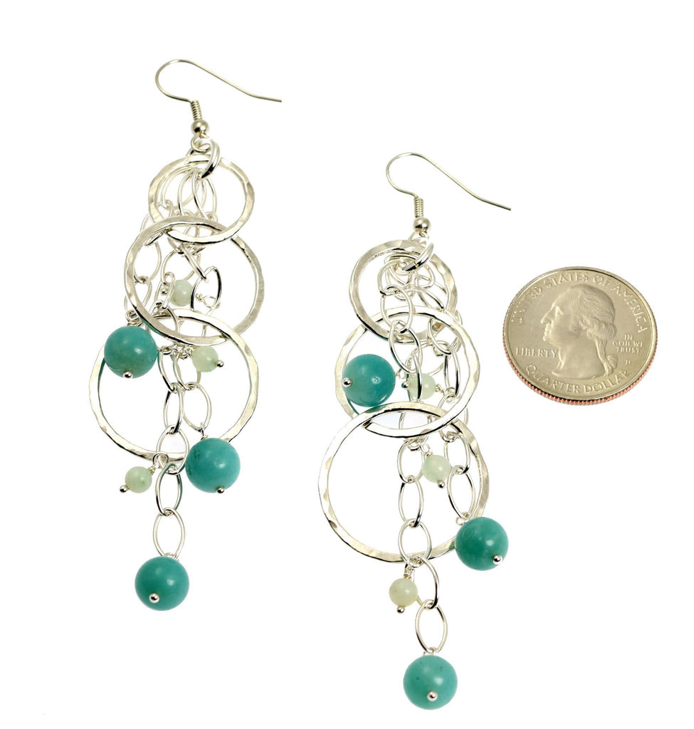 Amazonite Hammered Fine Silver Earrings - johnsbrana - 3