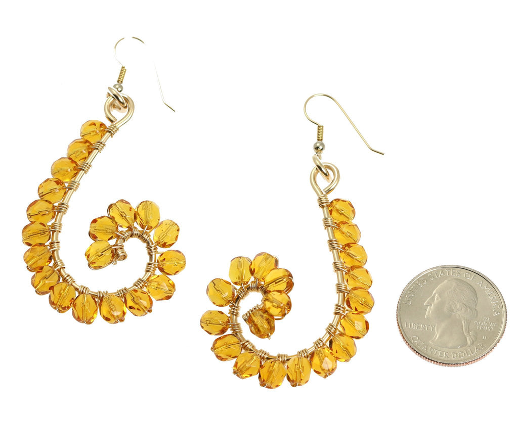 Amber Wire Wrapped 14K Gold-filled Earrings - johnsbrana - 2