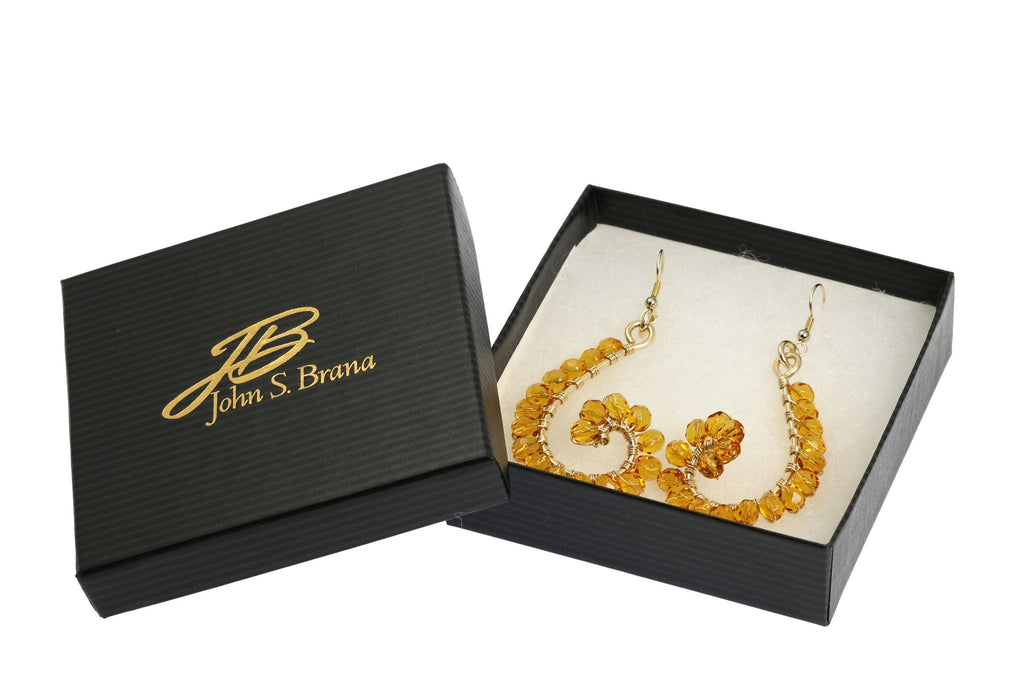 Amber Wire Wrapped 14K Gold-filled Earrings - johnsbrana - 4