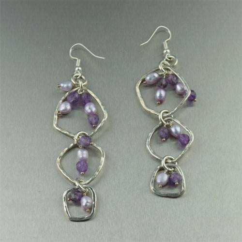 Amethyst Hammered Fine Silver Earrings - johnsbrana