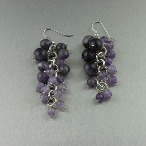 Amethyst Sterling Silver Chainmail Earrings - johnsbrana