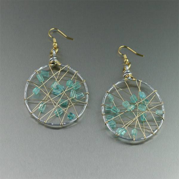Earrings - Apatite Wire Wrapped Aluminum Earrings