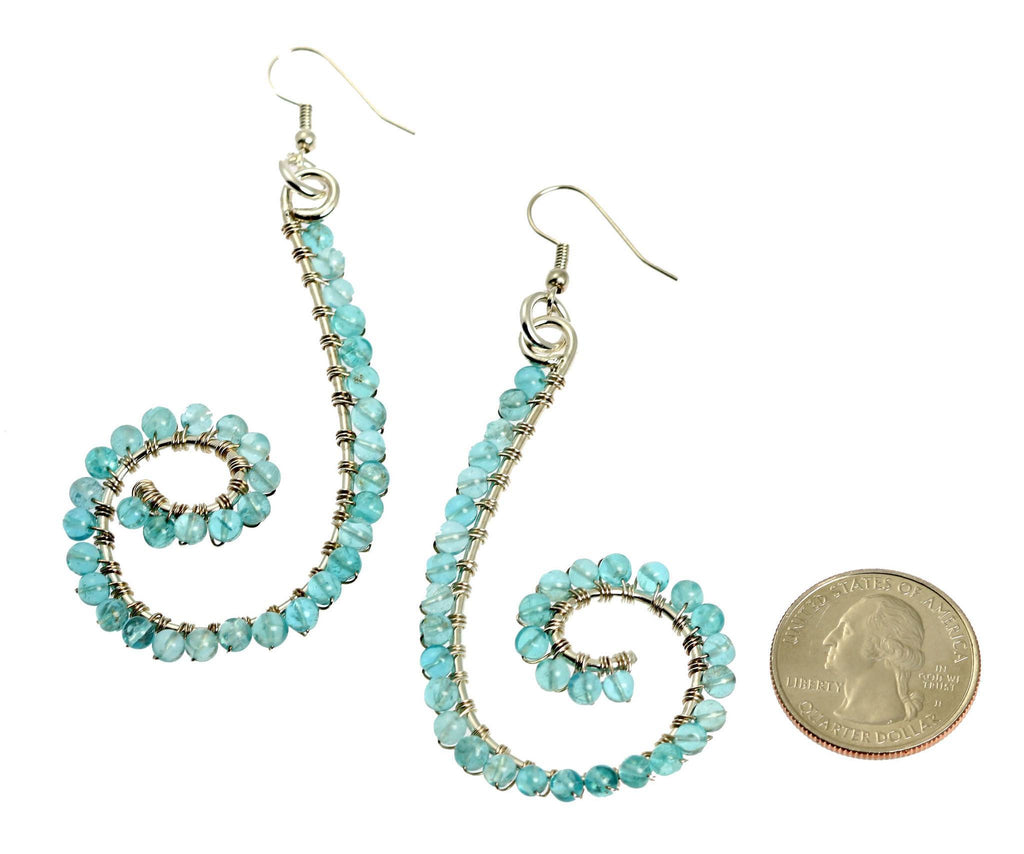 Apatite Wire Wrapped Sterling Silver Earrings - johnsbrana - 2
