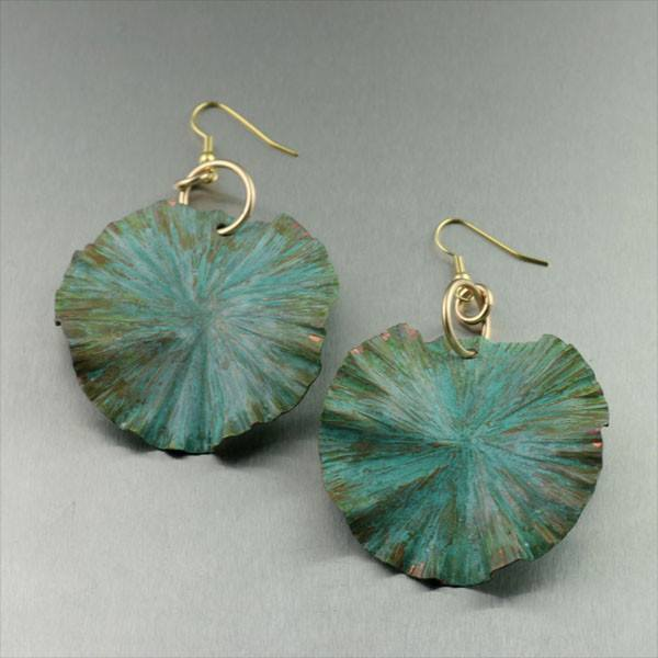 Apple Green Patinated Lily Pad Earrings - Large - johnsbrana