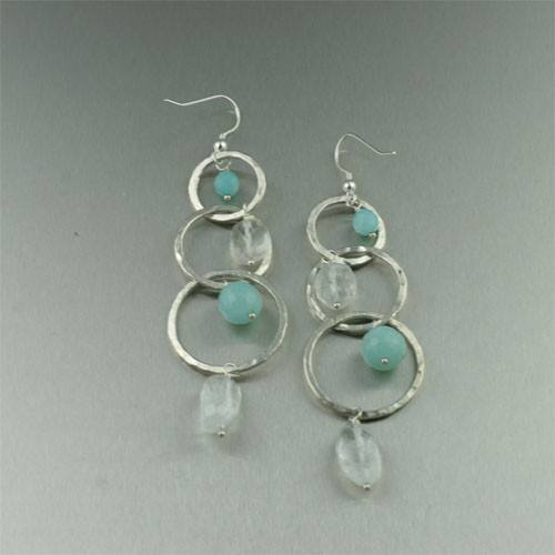 Aquamarine Hammered Fine Silver Earrings - johnsbrana