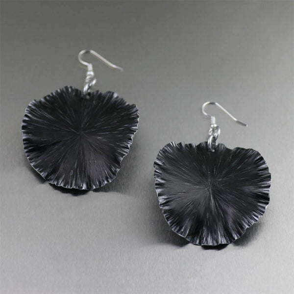 Black Anodized Aluminum Lily Pad Earrings - Large - johnsbrana