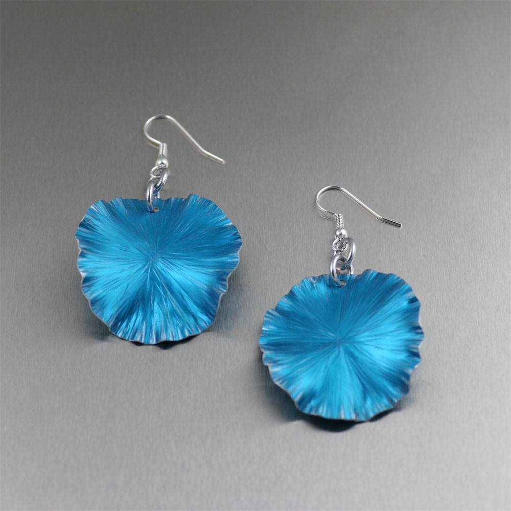 Blue Anodized Aluminum Lily Pad Earrings - Medium - johnsbrana