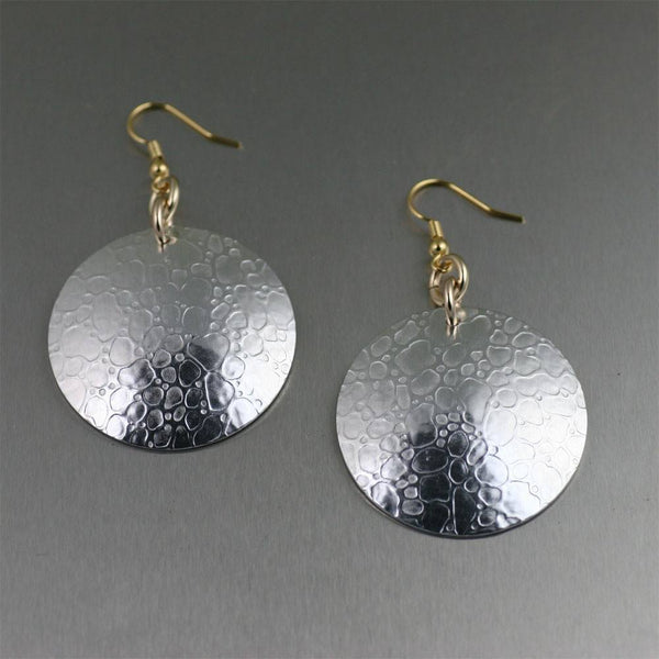 Earrings - Bubble Embossed Aluminum Disc Drop Earrings