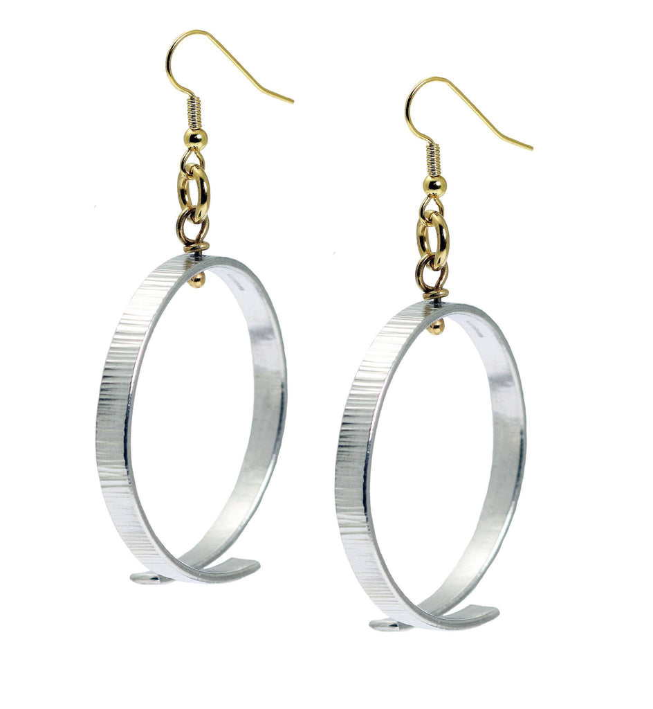 Chased Aluminum Hoop Earrings - johnsbrana - 1