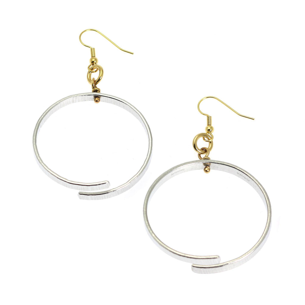 Chased Aluminum Hoop Earrings - johnsbrana - 2