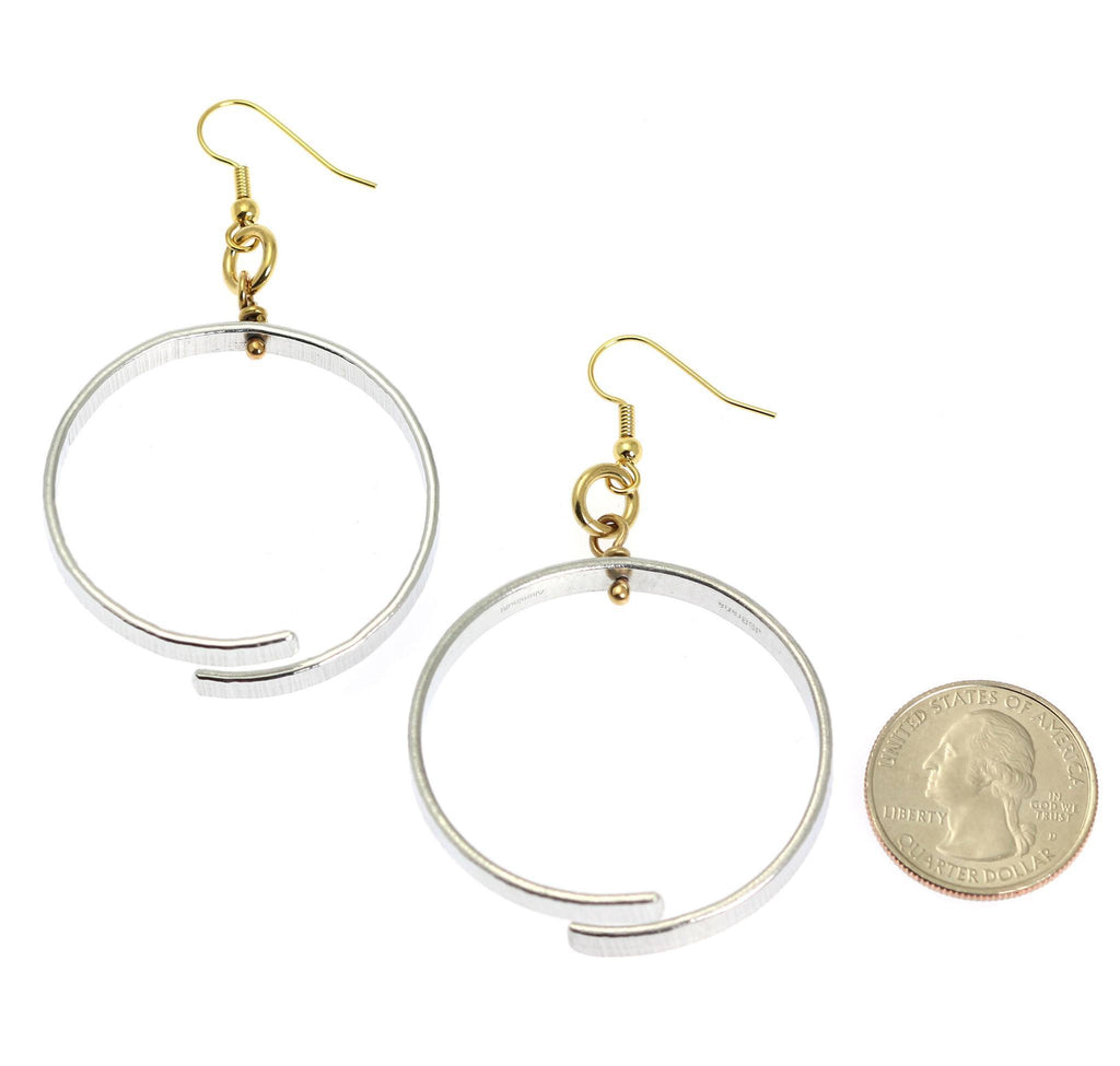 Chased Aluminum Hoop Earrings - johnsbrana - 3