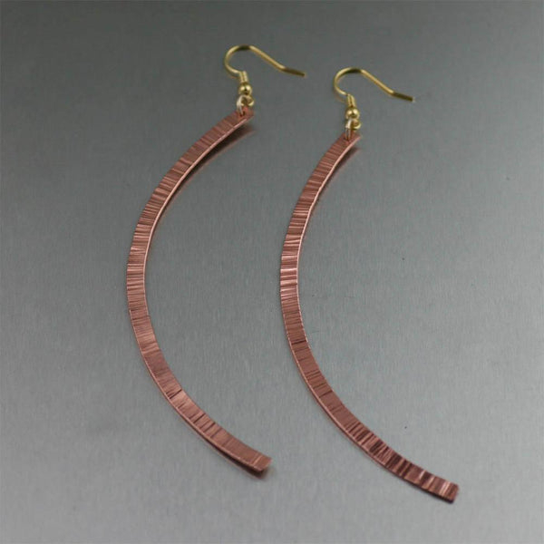 Chased Copper Drop Earrings - johnsbrana