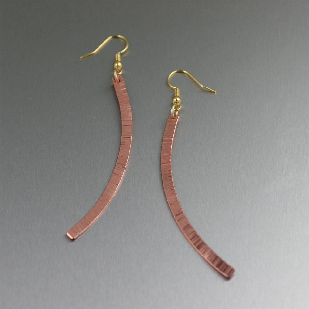 Chased Copper Drop Earrings - Small - johnsbrana